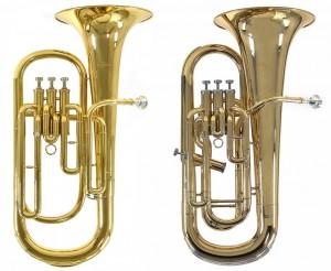 Til venstre en Baryton og til højre en Euphonium.