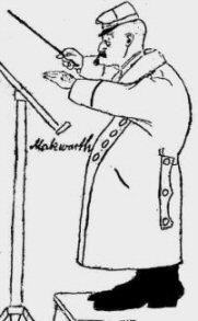 Karikaturtegning af Ludvig Makwarth på dirigentpodiet